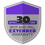 30-day spot and spill warranty badge